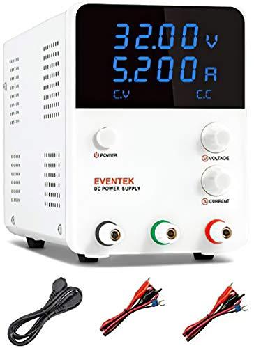 Labornetzgerät, Eventek 0-32V 0-5,2A DC Regelbar Netzgerät Stabilisiert Digitalanzeige Labornetzteil Netzteil Strommessgeräte (305DF)