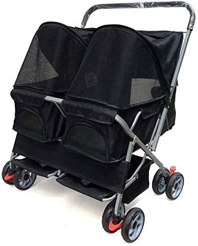 Pet Trolley, Pet Carrier Trolley Doppel-Kinderwagen / 2 Hunde/Katzen Klappbarer Reisewagen für Haustiere Katzen (Farbe: Schwarz) Firm