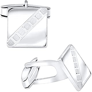 Men's Sterling Silver .925 Square Cufflinks with Satin...
