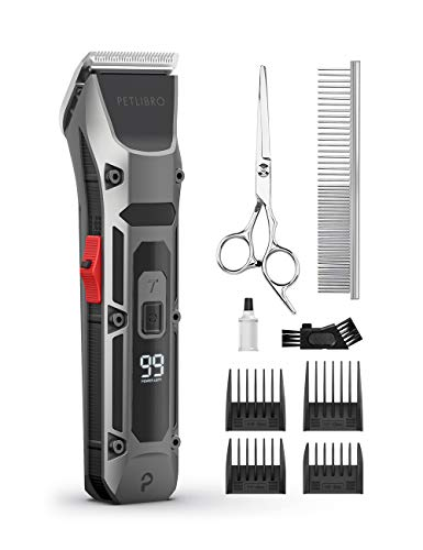 PETLIBRO Dog Clippers LCD Display Dog Hair Grooming Clippers Kit with Low Power Indicator Low Noise USB Rechargeable Cordless Electric Pets Hair Clippers for Dogs Cats Pets