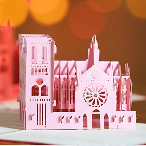 Funihut Novelty Stereoscopische 3D-kaarten, Retro Onze Lieve Vrouw Kathedraal Papier Snijkaarten Roze