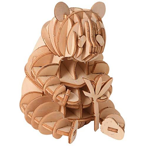 TOYANDONA 1pc 3D Wooden Puzzle, Mini 3D Panda Puzzle Model Self-Assembling DIY Craft Set for Kids (2.7x2.2x3 inch)