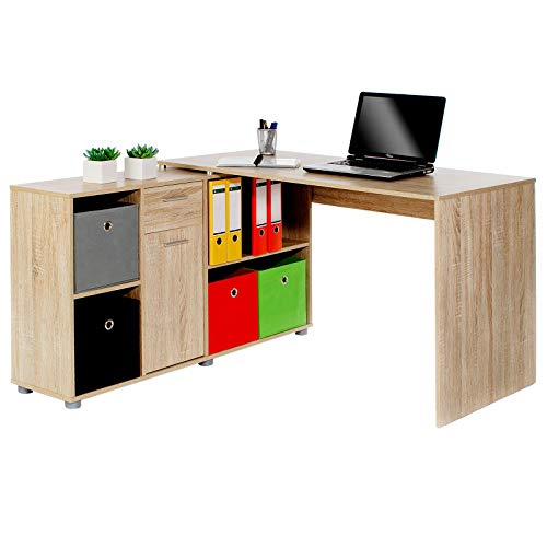 IDIMEX Schreibtisch Eckschreibtisch Carmen in Sonoma Eiche mit Regal 120x75x59 cm Winkelkombination