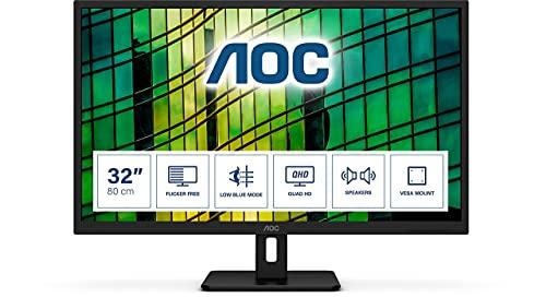 AOC Q32E2N - 32 Inch QHD Monitor, 75Hz, 4ms, IPS, Speakers, FlickerFree,...