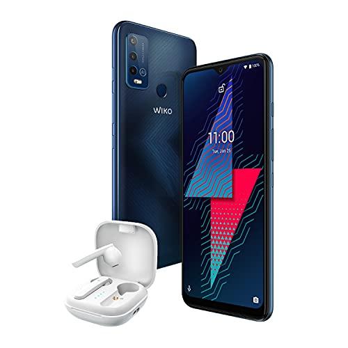 "Wiko Power U30 128 Go Smartphone débloqué 4G (Ecran 6.82"" HD+ - 128 Go Stockage - 4 Go RAM - Triple Camera - Batterie 6000 mAh - Charge Rapide) Carbone Blue + Wibuds Pocket"