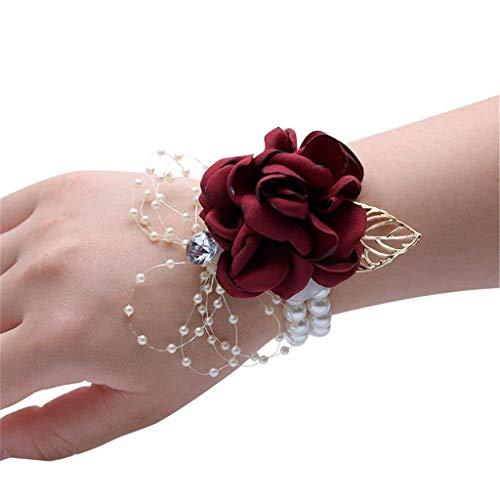 Flonding Girl Bridesmaid Wrist Corsage Bridal Silk Wrist Flower with Faux Pearl Bead Stretch Bracelet Wristband Gold Leaf for Wedding Prom Hand Flowers Decor (Burgundy, Pack of 1)