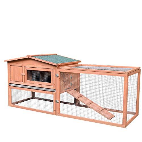 Pawhut Clapier Cage à Lapins rongeurs 2 étages tiroir...