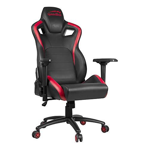 Speedlink TAGOS XL Gaming Chair - XL Schreibtischstuhl - extra große Sitzfläche und Rückenlehne - Lederimitat, schwarz-rot