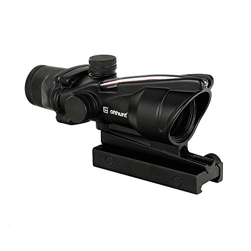 ohhunt Riflescope 4x32 Scope Red Fiber or Green Fiber Illuminated Sight Scope (Red Fiber...