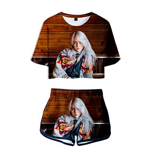 Preisvergleich Produktbild Siskey 3D Druckten Sommer Beiläufige Kurze Hülsen T-Shirts T-Stücke, Billie Eilish Printed Casual Pullover Tee Shirt for Music Fans, Billie Eilish Kurzarm Shorts Set-Color3, 2XL
