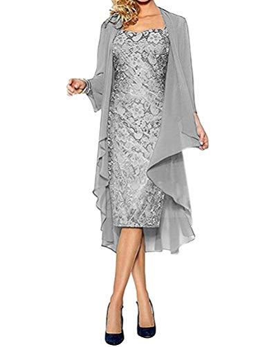 Minetom Damen Spitzenkleid Cocktailkleid Festliche Brautjungfernkleider Für Hochzeit Knielang Abendkleider Spitzen Ärmellos Vintage Damenkleider Tüll Boleros C Grau 44