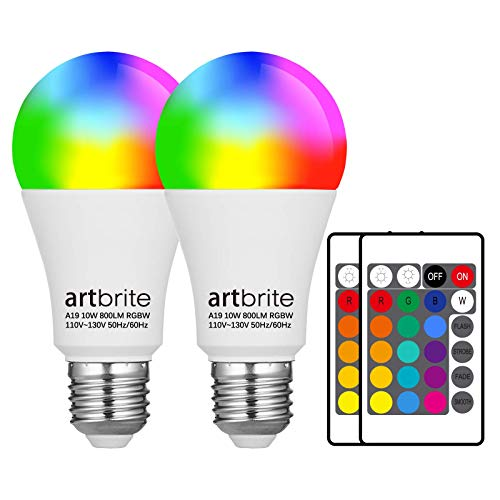 2 Pack Color Changing Light Bulb 10W, E26 Screw Base, RGB LED Bulbs 800lm, 3000K Warm White, with Remote, 16 Color Choices for Porch, Backyard, Stage, Party and More, by artbrite