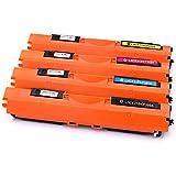 Ink & Toner Family 4 Stücke Toner (1 Schwarz 1 Cyan 1 Magenta 1 Gelb) Ersatz für CF350A CF351A CF352A CF353A Tonerkartusche kompatibel für HP Color LaserJet Pro MFP M176N M177FW Drucker MEHRWEG