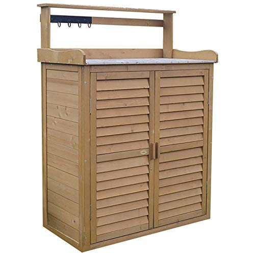 HOBIRD All Weather Portable Wooden Outdoor Garden Cabinet Shed Shelf Cupboard Storage For Tools Toys,Brown