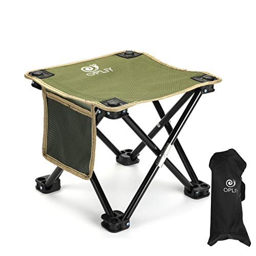 "OPLIY Camping Stool, Folding Samll Chair Portable Camp Stool for Camping Fishing Hiking Gardening and Beach, Camping Seat with Carry Bag (Green, L 13.5"")"
