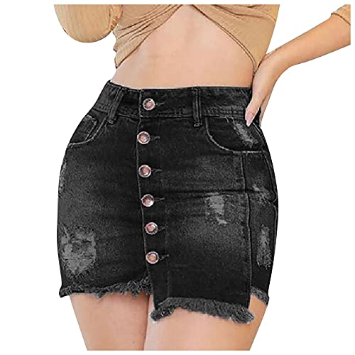 YESMAN Pantalones cortos de mezclilla para mujer, estilo informal, de cintura media, con agujeros deshilachados, botones abiertos, pantalones cortos de mezclilla con bolsillos