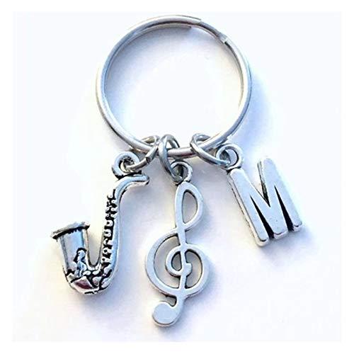 Xx101 Schlüsselanhänger Persönlichkeit Saxophon Keychain Saxophonist Schlüsselanhänger Geschenk für Jazz Musician Keyring Sax präsent Treble Clef Erste Musik Charms (Color : M)