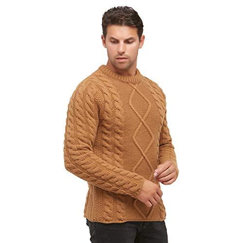 Pullovers heren trui met ronde hals in 100% wol kleur beige camel