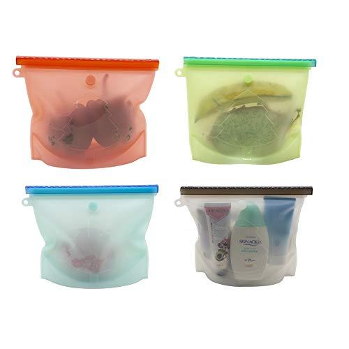 【新設計】再利用可能なシリコン食品保存バッグ 密閉シール食品貯蔵 スープソース密閉冷凍庫 フルーツ用の多目的保存容器野菜肉-1L*4Pack