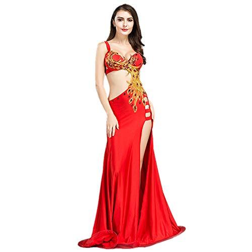 ROYAL SMEELA Disfraz de Danza del Vientre Sujetador y Falda Vestido de la Danza de Vientre de Las Mujeres Exquisito Conjunto de Traje de tótem de Phoenix Vestido Sexy Talla Extra
