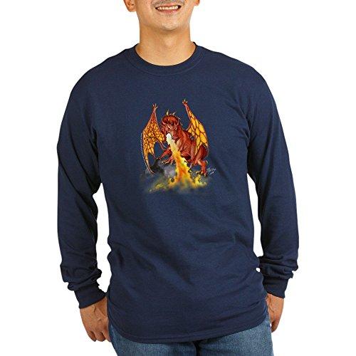 CafePress - Red Dragon - T-shirt unisexe en coton à manches longues - Bleu - Taille Unique