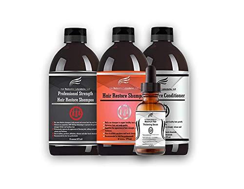 Hair Restoration Laboratories' Ultimate DHT Blocking Hair Loss 4 Step System-Hair Restore Shampoo, Professional Strength Shampoo & Conditioner Set & Maximum Thickening Hair Serum for Men and Women