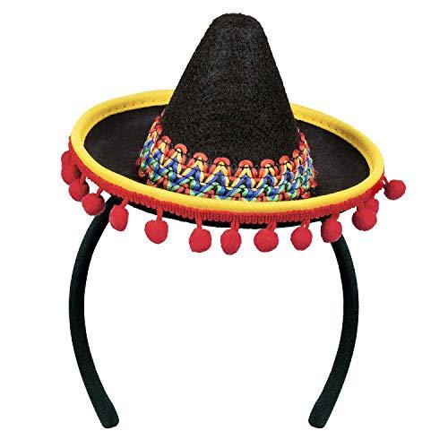 Boland 54423 - Haarreif Sombrero, Kopfschmuck, Hut, Minihut mit Pompons, Mexiko, Kostüm, Verkleidung, Mottoparty, Karneval