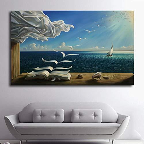 BBSJX Leinwand malerei die Wellen Buch segelboot, für Salvador dali leinwand Poster drucken, für Wohnzimmer Hause wanddekoration 60x90 cm kein Rahmen