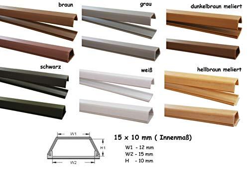1m Kabelkanal 15x10mm (Innenmaß) selbstklebend versch. Farben (Verbinder verfügbar), Farbe:Dunkelbraun Meliert