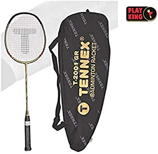 Playking Tennex Graphite Badminton Rackets with Cover T-1001 GR, Color May Vary