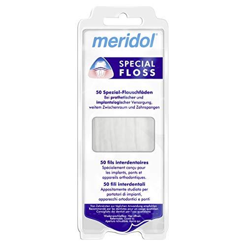 meridol Zahnseide Special Floss, 1 x 50 Stück - zur Reinigung weiter Zahnzwischenräume, geeignet für Träger von Brücken, Kronen und Implantaten