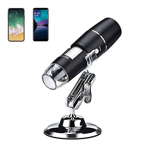 1000X WiFi Digital Microscope for iPhone iPad Android Phone, Cainda Wireless Handheld Microscope Camera with Metal Bracket Mini Design Pocket Size