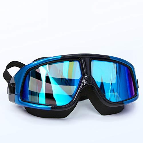 Gran marco galvanoplastia miopía impermeable y antivaho gafas de natación de luz plana gafas de natación y gafas adecuadas para hombres adultos y mujeres negro azul 200 °