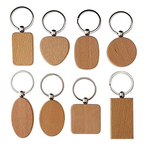 Cyleibe Packung mit 8 DIY Blank Holz Schlüsselring, Naturholz Scheiben Schlüsselringe Personalisierte Schlüsselanhänger Schlüsselanhänger für Abschlussgeschenk Holzschilder