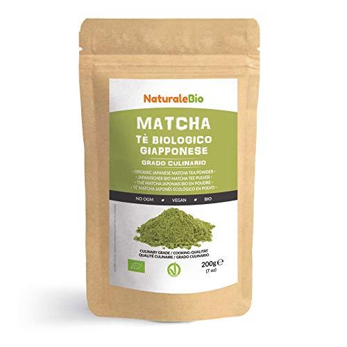 Biologische groene Matcha-thee in Poeder [CULINAIRE KWALITEIT] 200 gram. Matcha-Thee Geproduceerd in Uji, Kyoto in Japan. Ideaal voor Desserts, Smoothies, Ijsthee, Melk en in als Ingrediënt bij het Koken. NaturaleBio