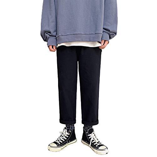 Beastle Pantalones Vaqueros para Hombre Primavera y otoño Pantalones de Mezclilla de 9 Puntos Sueltos y Sueltos Casuales de Pierna Recta L