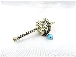 Jet Prayer Wheel 1.5 inch Brass Om Mani Padme Hum Spirited Aum Tibetan Nepal Pendant Carving Deity Tibetan Buddhism Swastika Jet International Crystal Therapy Booklet Image is JUST A Reference.