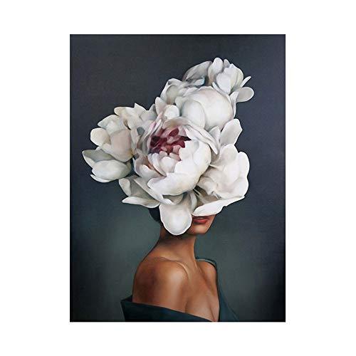 OYFFL Flor Mujer Cabeza nórdico Abstracto Pared Arte impresión Pintura Lienzo Cartel Moderno Cuadro Decorativo decoración de Sala de Estar (50 * 70cm Sin Marco,K)