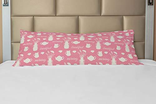 ABAKUHAUS Goûter Taie de Traversin avec Fermeture à Glissière, Coupes du Matin Petit-déjeuner, Taie d'oreiller Longue Décorative, 53 x 137 cm, Pastel Rose et Coquille d'oeuf