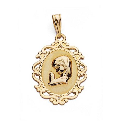 OROCORDOBA Medalla Bebé/Niña Oro Amarillo 18 ktes Comunión Virgen Niña Ovalada Tamaño 16x23 mm