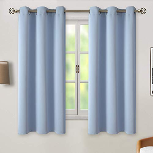 BGment Blackout Curtains for Living Room - Grommet Thermal Insulated Room Darkening Curtains for Bedroom, 2 Panels of 42 x 63 Inch, Spa Blue