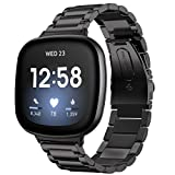 Shangpule Compatible with Fitbit Sense/Fitbit Versa 3 Bands, Stainless Steel Metal Replacement Strap Wrist Band Compatible with Fitbit Sense/Versa 3 Large Small Women Men (Black)