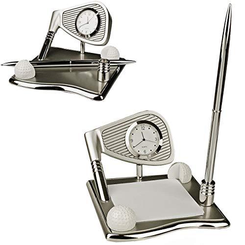 alles-meine.de GmbH kleine - Tischuhr / Miniatur - Uhr + Notizzettel Halter + Kugelschreiber Ständer - Golf - Golfschläger & Golfball - aus Metall - batteriebetrieben - Analog - ..