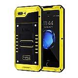 seacosmo Funda Impermeable iPhone 7 Plus/ 8 Plus [IP68] [con Protector de Pantalla Integrado], Carcasa del Metal Antigolpes de Cuerpo Completo para iPhone 7+/8+ Plus- Amarilla