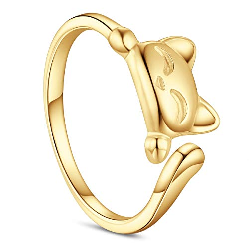 SHEGRACE 925 Sterling Silver Cuff Ring Lovely Kitten 18mm Size Q Ajustable for Woman Silver/Rose Gold/Gold