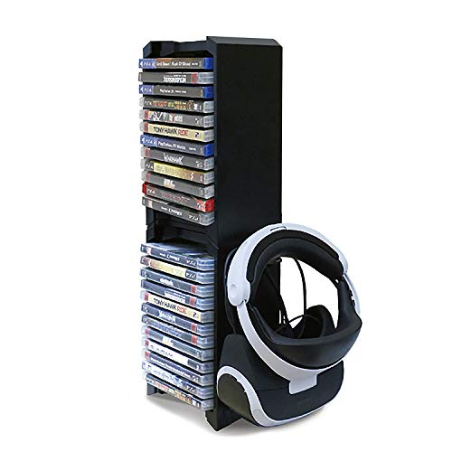 PS4 Game Storage Tower - Universal Games Storage Tower - PS4 y Xbox One Game Storage Rack almacena 24 juegos o Blu-Rays y gafas PS4 VR