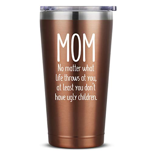 Mom, Ugly Children - 16 oz Rose Gold Insulated Stainless...