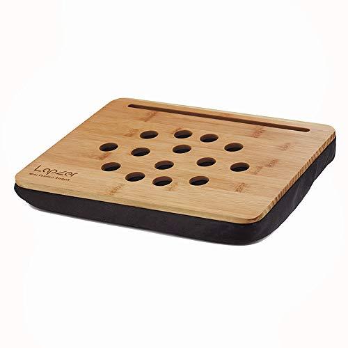Monsterzeug 2in1 Knietablett mit Tablet Halterung, Laptoptisch mit Kissen, Laptop Unterlage mit Luftlöchern, Knietisch aus Bambus