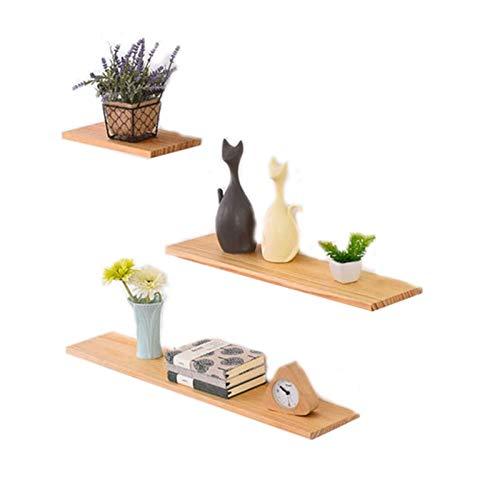 HJW Praktische opbergrek Home Decoratieve Wandmontage Drijvende Planken Sets van 3, Massief Hout Opknoping Opbergrek voor Woonkamer Slaapkamer Keuken Badkamer Display 1Huiyang-01020, Natuurlijk