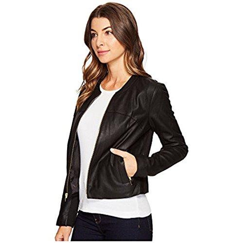 VIA SPIGA Women's Collarless Leather Jacket, Black/Ponte Back, Small